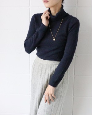 Navy cashmere turtleneck sweater