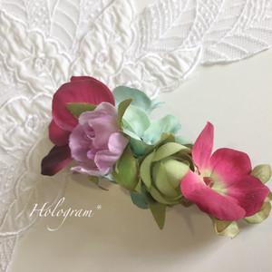 フラワーバレッタ*赤と青の紫陽花