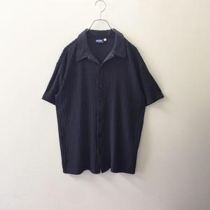 POSITANO ニット風加工 オープンカラーシャツ ネイビー size L アメリカ製 メンズ 古着
