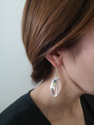 oval clear イヤリング