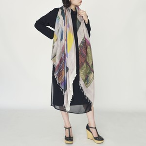 【NEW】JOURNEY OF THE SCARF [beige]  シルク60%、ウール40%