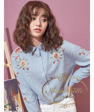 spring collection レディース 刺繍ブラウス shirt シャツ 綺麗 可愛い 花柄 花刺繍