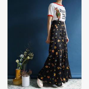 【送料無料】70's Black Bright Colored Floral Print High Waisted Maxi Skirt