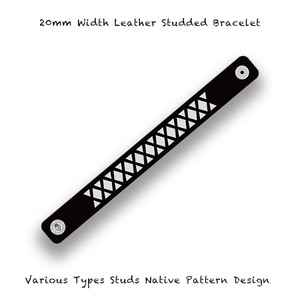 20mm Width Leather Studded Bracelet / Various Types Studs Native Pattern Design 002