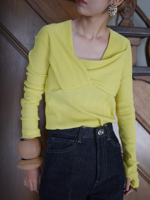 JANE SMITH / ASYMMETRY PULLOVER (JADE GREEN / PALE GRAY / YELLOW)