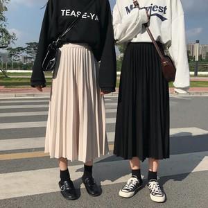【ボトムス】無地カジュアルハイウエスト切り替えスカート22438731