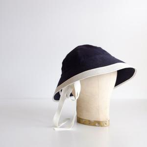 セーラーハット リネン 【 紺にオフ白 】ライン/sailor hat linen