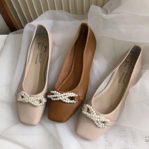 パールリボン付きバレエシューズ リボン フェミニン 春秋 かわいい フェミニン 靴 韓国
