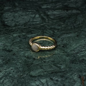 SINGLE MINI STONE ROPE RING GOLD