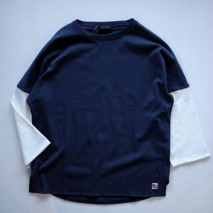 【modem design】2tone 3/4 sleeves cut sew