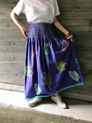 Jeanne Marc purple × tea set print cotton skirt ( ジェーン マーク パープル ティーセット柄 コットン スカート