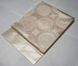 華紋 袋帯 銀糸 シャンパンゴールド ピンク 128