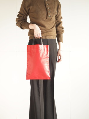 Leather tote bag (S)/Red,Black