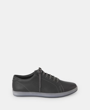 GREY BASIC LEATHER SNEAKER [196021584302]