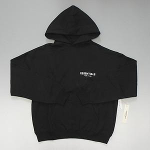 【期間限定ゲリラSALE】FOG - Fear of God ESSENTIALS Boxy Logo Pullover Hoodie 胸ロゴデザイン スウェットパーカ ブラック
