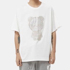 【HIPANDA】メンズ Tシャツ MEN'S  HIPANDA YELLOW RHINESTONE SLEEVED T-SHIRT / WHITE