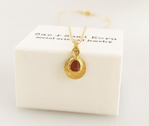K24 Pure Gold+Raw Red Spinel◆純金 レッドスピネル原石ペンダントトップ