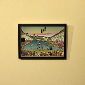 すけ〜と百景『日本橋』浮世絵額装(A4サイズ)