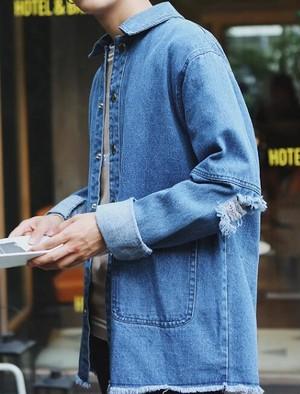 2色 春秋新作 メンズ ダメージ加工 デニム ジャケット ヴィンテージ ジージャン メンズジャンパー ヒップホップ Gジャン デニムコート トップス