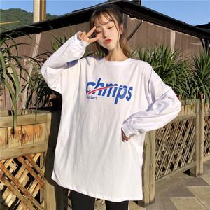 【トップス】アルファベットラウンドネックプルオーバー長袖Tシャツ22406129