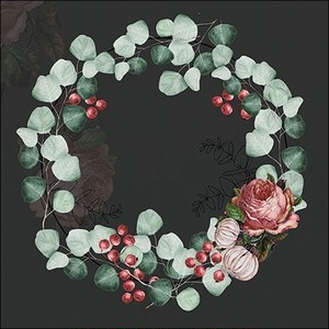 2020秋冬新作【Ambiente】バラ売り2枚 ランチサイズ ペーパーナプキン Wreath of Eucalyptus ブラック