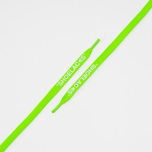 """FLAT LACES SOLID """"SHOELACES/NEON GREEN WH"""""""