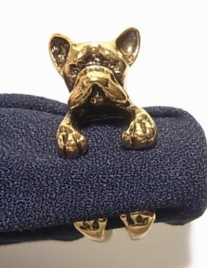 ファッションリング ブルドッグのリング 犬の指輪  3886CR