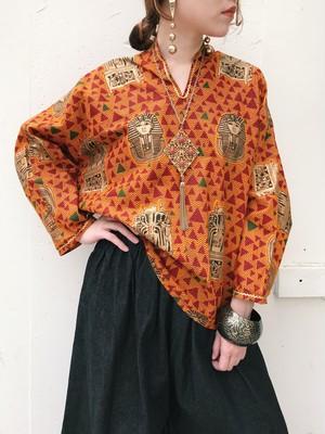 Vintage african batik Pharaoh cotton tops ( ヴィンテージ アフリカン バティック ファラオ コットン トップス