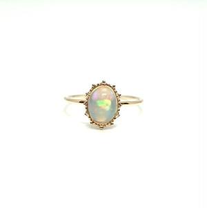 granulation 8×6 gem ring - Opal cabochon cut