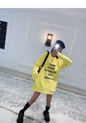 ★UNISEX HBARFSLレタリングロングTシャツ(Yellow,Black) 9900