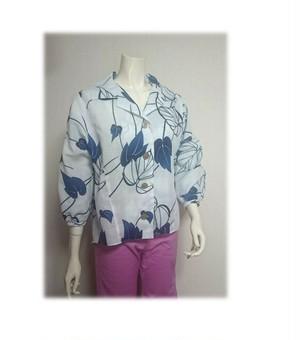 8 浴衣リメイク可愛いレトロオープンカラーシャツ(白/植物柄)