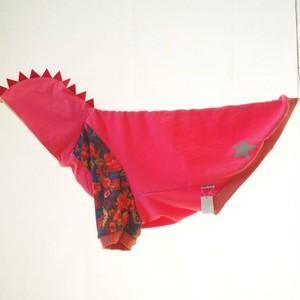 【5L】花柄×ピンクの怪獣フード 犬服・大型犬