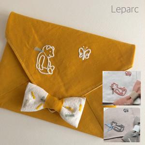テディベア刺繍封筒リネンポーチ【3カラー】