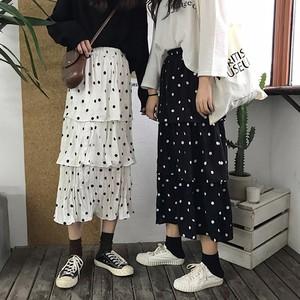 【ボトムズ】ドット柄スウィートフリルスカート