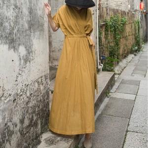 V-neck cotton maxi dress Vネック コットン マキシ ワンピース