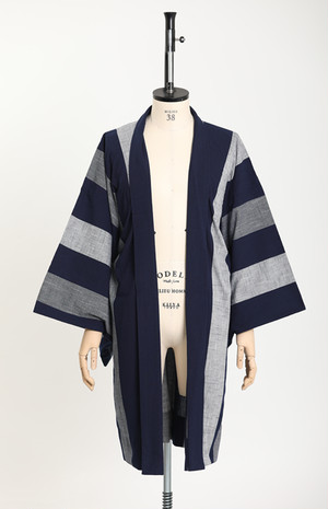 羽織 / 片貝木綿 / Thick stripes / Navy×Grey(With tailoring)