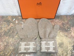 HERMES CASHMERE100% GLOVE MADE IN ITALY/エルメスHロゴカシミヤ100%手袋