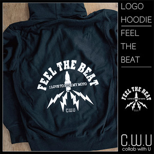LOGO PRINT ZIP-UP HOODIE [FEEL THE BEAT]
