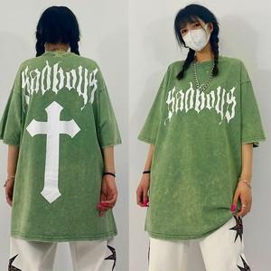 【トップス】半袖ストリート系カジュアルプリント男女兼用個性的Tシャツ46302693