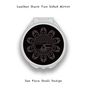 Leather Stuck Two Sided Mirror / Sun Face Skull Design 004