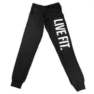 LIVE FIT Original Womens Jogger Sweat Pants - Black WS600