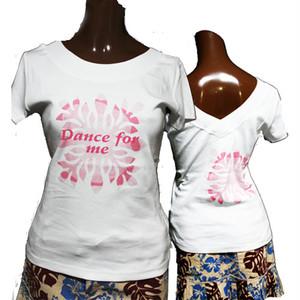 APPLE HOUSE / ZA TOKYO  100%made in Japan.フラダンサーにも人気!ハワイアンデザインのフレンチ袖後V襟Tシャツ(Dance for me) No.134281