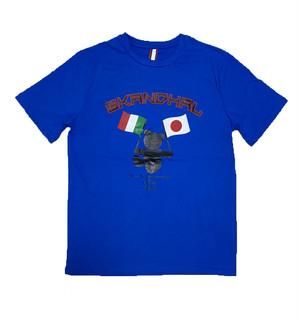 【SKANDHAL】JAPAN ITALY Tシャツ 【ブルー】【新作】イタリアンウェア【送料無料】《M&W》