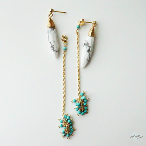 Turquoise×Magnesite Earrings/14KGF