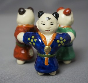 色絵 三ツ人形蓋置
