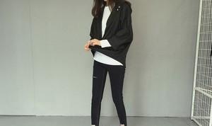 全2色 フード付き 長袖 ボーイフレンドスタイル ゆったり 体型カバー ワンサイズ