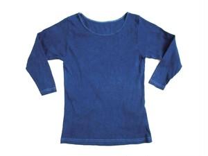 ◆100%自然素材 天然灰汁発酵建て 藍染◆ オーガニックコットン 7分袖トップス