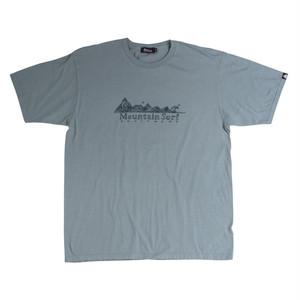 後染めプリントTシャツ:ブルーグレイ