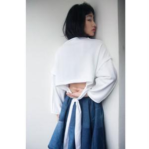 west tie sweat pullover / white