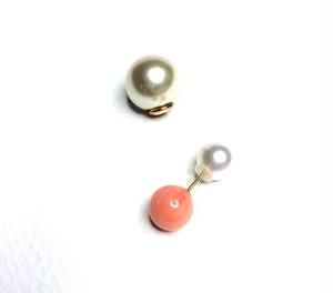 【再入荷】k18onestoneピアス ピンク珊瑚(片耳)